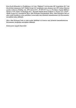 """Krea İçerik Hizmetleri ve Prodüksiyon A.Ş.`nin (""""Digiturk"""") tek"""