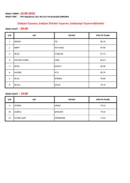 16 Haziran 2016 tarihinde sözlü sınava girecek adayların listesi