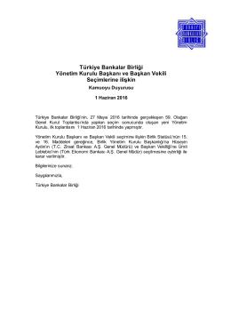 Kamuoyu Duyurusu - Türkiye Bankalar Birliği