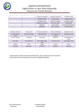 Haziran Ayı Yemek Menüsü - Hakkımızda: Giresun Üniversitesi