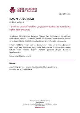 Türk Lirası Likidite Yönetimi Çerçevesi ve Sadeleşme
