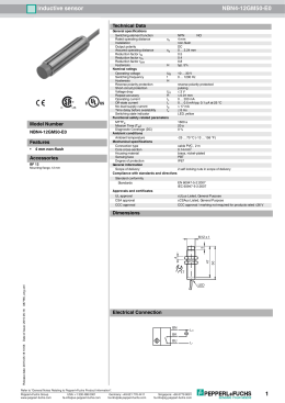 Pepperl & Fuchs NBN4-12GM50-E0 Spec Sheet