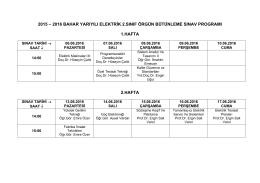 2015 – 2016 bahar yarıyılı elektrik 2.sınıf örgün bütünleme sınav