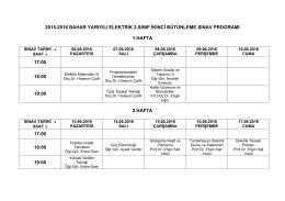 2015-2016 BAHAR YARIYILI ELEKTRİK 2.SINIF İKİNCİ