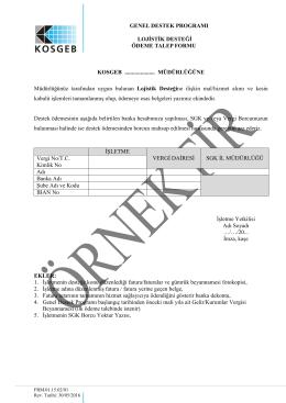 Lojistik Destek Ödeme Talep Formu