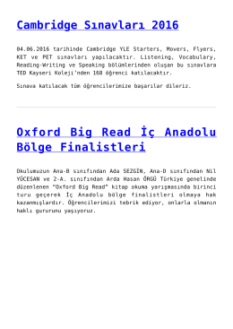 Cambridge Sınavları 2016,Oxford Big Read İç Anadolu Bölge