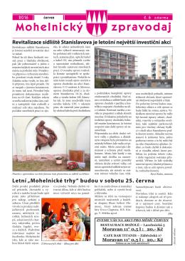 Mohelnický zpravodaj - číslo 6 (červen 2016)