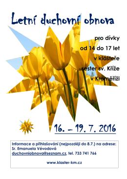 pro dívky od 14 do 17 let v klášteře sester sv. Kříže v Kroměříži