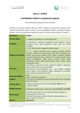 Výzva č. 6/2016 k předkládání žádostí o poskytnutí podpory