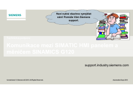 Komunikace mezi SIMATIC HMI panelem a měničem