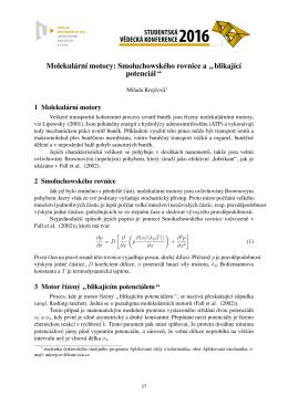 """Molekulárnı motory: Smoluchowského rovnice a """" blikajıcı potenci ál """""""