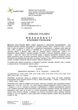 Veřejná vyhláška - stavební povolení - cesta H3