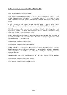 Souhrn usnesení z 52. schůze rady města