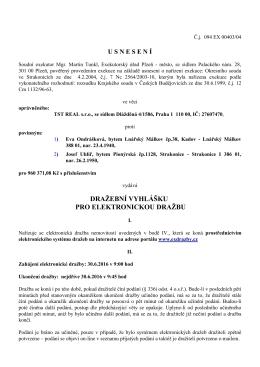 Dražební vyhláška č. 1 - elektronická dražba č. j.: 094 EX 00403/04