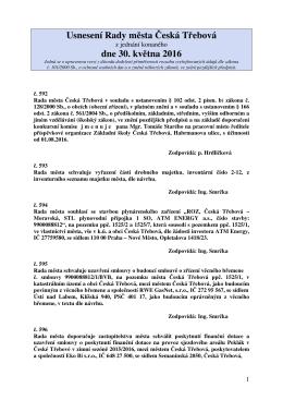 Usnesení Rady města Česká Třebová z jednání konaného dne 30