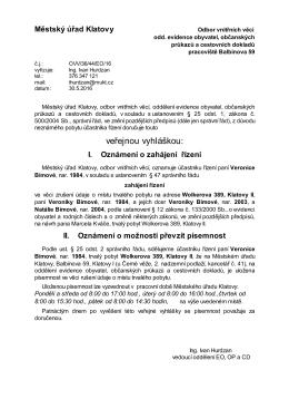 Veřejná vyhláška, rušení trvalého pobytu - Veronika Bímová