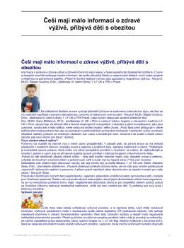 Češi mají málo informací o zdravé výživě, přibývá dětí s obezitou