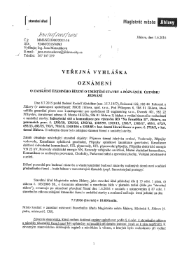 Oznámení o zahájení územního řízení o umístění stavby a