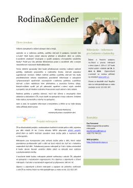 Rodina&Gender - Ministerstvo práce a sociálních věcí