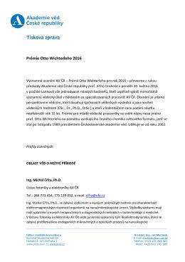 Prémie Otto Wichterleho 2016 - Akademie věd České republiky