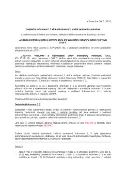 Dodatečná informace č. 7 - Výzkumný a šlechtitelský ústav