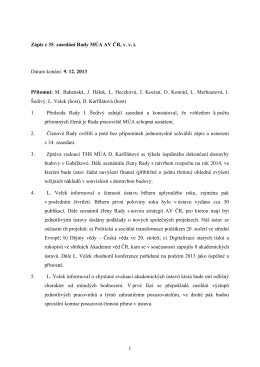 9. 12. 2013  - Masarykův ústav a Archiv AV ČR, v. v. i.