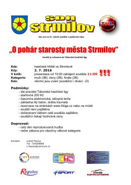 """""""O pohár starosty města Strmilov"""" !!!"""