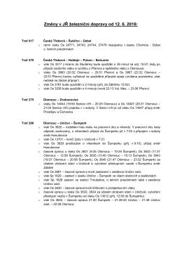 Změny v JŘ železniční dopravy od 12. 6. 2016: