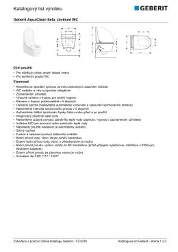 Katalogový list výrobku