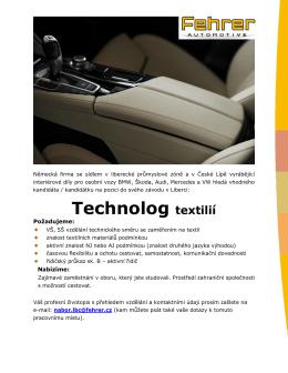 Technolog textilií