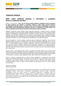SZIF začal přijímat žádosti o schválení v projektu Ovoce a zelenina