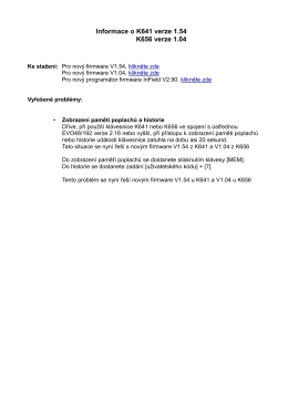 Informace o K641 verze 1.54 K656 verze 1.04