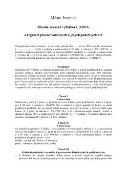 2015/3 - O REGULACI PROVOZOVÁNÍ SÁZKOVÝCH HER A LOTERIÍ
