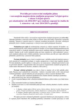 Pravidla pro sestavování stud. plánu v navazujícím Mgr. stud