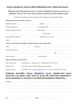 Storno objednávky účasti na Rekvalifikačním nebo