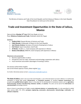 Trade and Investment Opportunities in the State of Jalisco, Mexico