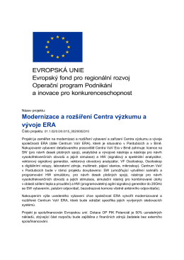 Modernizace a rozšíření Centra výzkumu a vývoje ERA