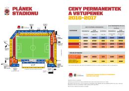 Plánek Stadionu Letná a ceník 2016