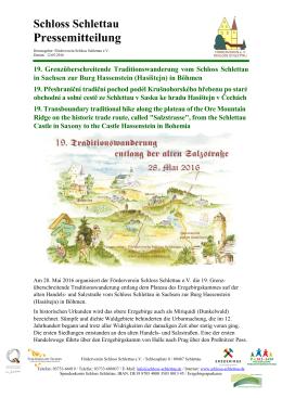 Schloss Schlettau Pressemitteilung