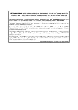 Zpráva pro akcionáře KBC Equity Fund, Optimum Fund