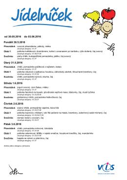 Jídelníček 30.5. – 3.6.2016