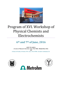 Program pracovního setkání fyzikálních chemiků a elektrochemiků