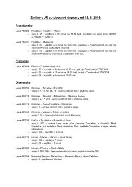 Změny v JŘ autobusové dopravy od 12. 6. 2016: