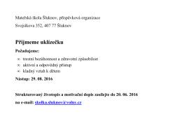 Přijmeme uklízečku - Mateřská škola Šluknov