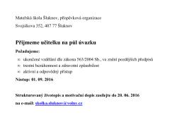 Přijmeme učitelku - Mateřská škola Šluknov