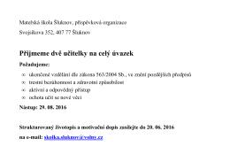 Přijmeme dvě učitelky - Mateřská škola Šluknov
