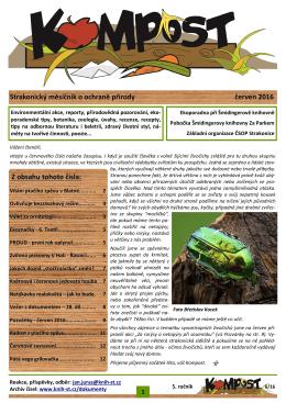 Strakonický měsíčník o ochraně přírody červen 2016 Z obsahu