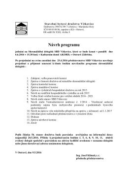 Návrh programu SD 6.6.2016 - Stavební bytové družstvo Vítkovice