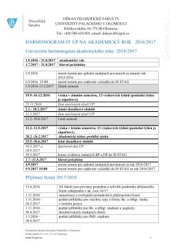 Harmonogram FF UP na akademický rok 2016/2017