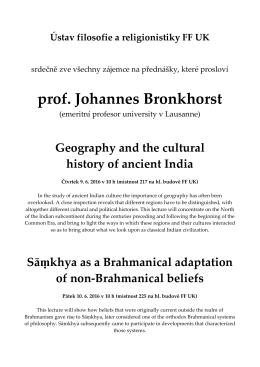 prof. Johannes Bronkhorst - Ústav filosofie a religionistiky FFUK